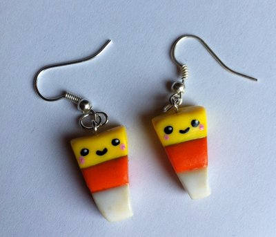 Orecchini Candy Corn in Fimo per Halloween / Polymer Clay Candy Corn Earrings Halloween