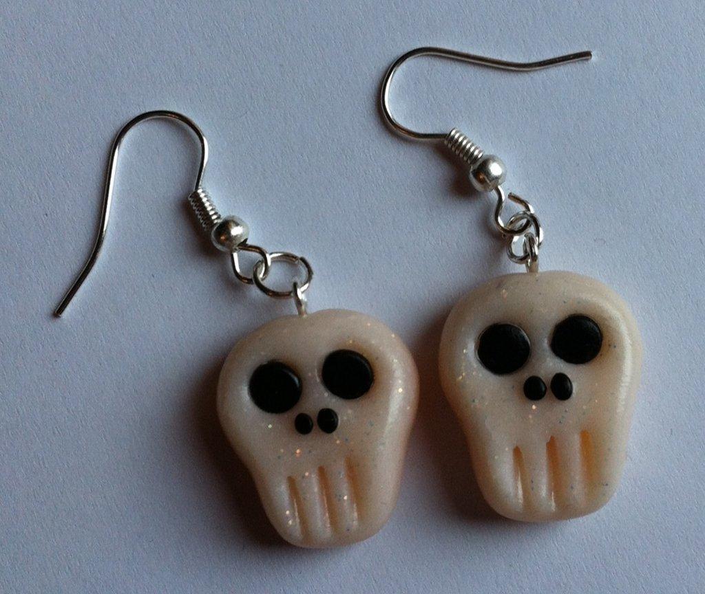 Orecchini Teschio in Fimo per Halloween / Polymer Clay Skulls Earrings Halloween