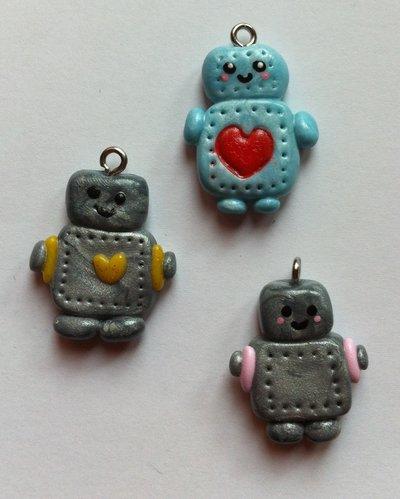 Ciondolo Robot in Fimo / Polymer Clay Robot Charm