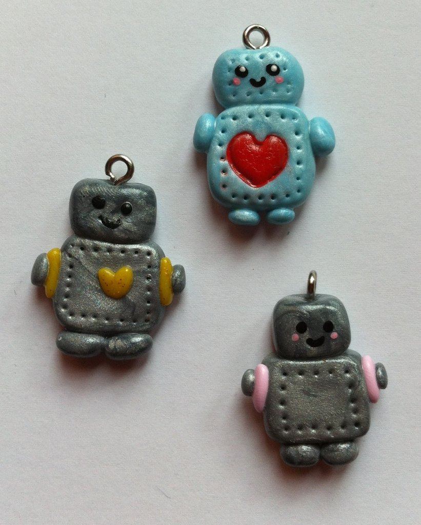 Ciondolo Robot in Fimo / Polymer Clay Robot Charm