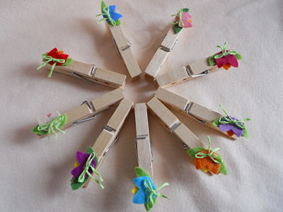 Mollette di legno con pannolenci