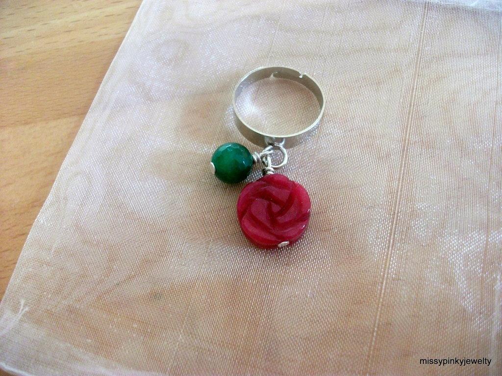 "Anello ""Pink Inlaid"" rosa intarsiata agata"