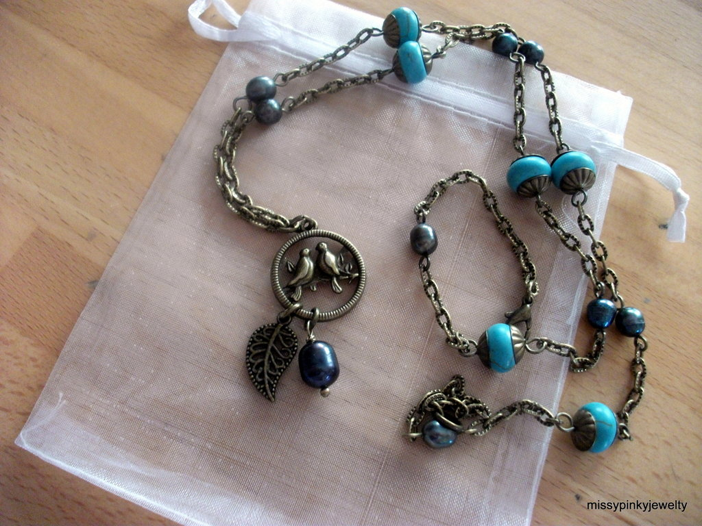 "Collana "" Birds in Love"" bronzo vintage turchese perle"