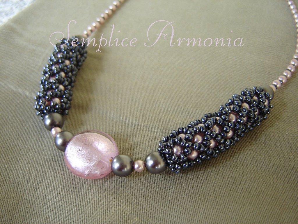 Girocollo vetro di murano perle rosa e grigio