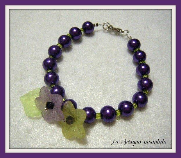 Bracciale floreale viola