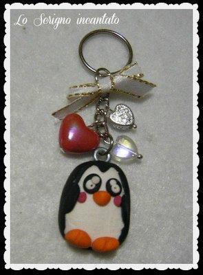 Portachiavi Pinguino fimo