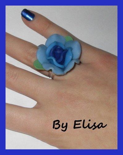 Anello con Rosa azzurra