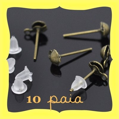 10 paia orecchini a perno bronzo + gommini
