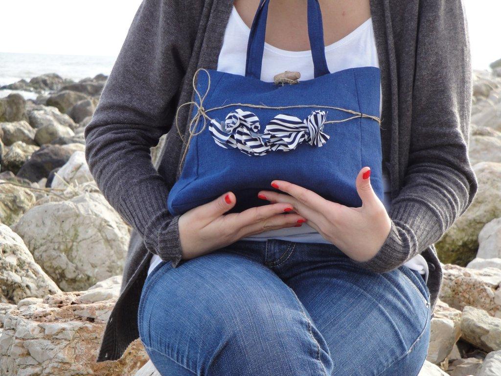 """""""Il mio mare in una borsa"""" mini blu handbag"""