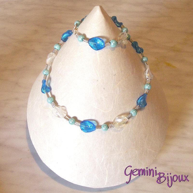 Collana onde crystal blu