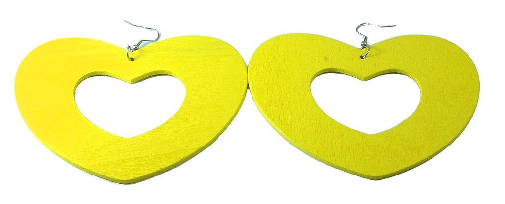 Orecchini in legno color giallo neon a cuore