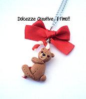 ☃ Natale In Dolcezze 2014 ☃ Collana orsetto di pezza su bastoncino di zucchero