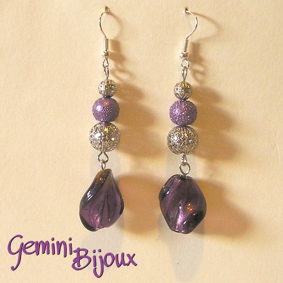 Orecchini onde purple