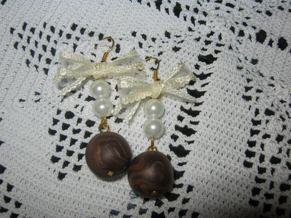 orecchini con fiocchetto organza