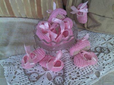 Portachiavi a scarpina danza rosa ad uncinetto in cotone