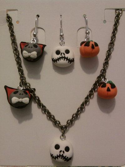 Braccialetto + trio di orecchini Halloween fimo