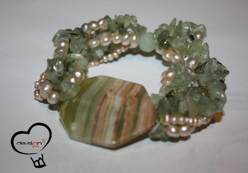 SALDI - Bracciale pietre verdi