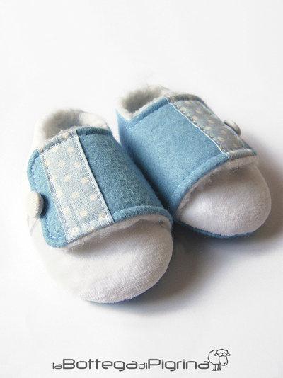Scarpine per Bebè con Pelo - Azzurre