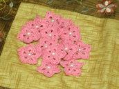 10 fiori rosa a stella con perlina uncinetto scrapbooking bomboniere