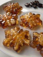 4 Perline Vetro Fiocchi di Neve AMBRA