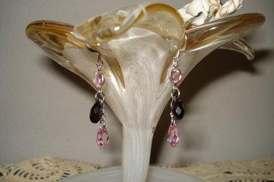 orecchini swarovski rosa e grigio