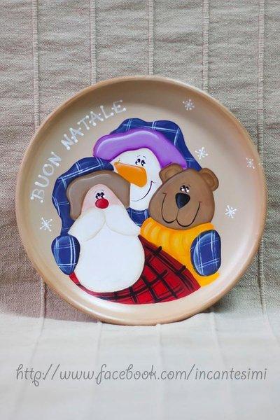Natale piatto dipinto a mano