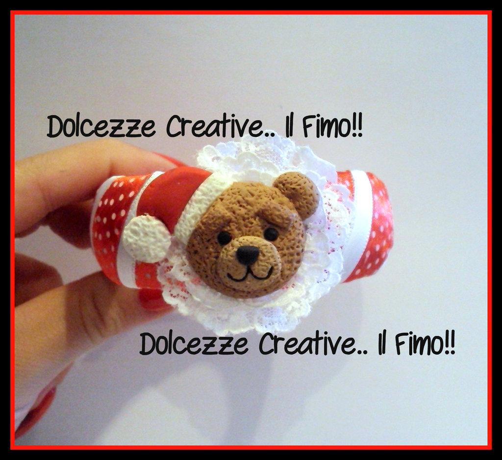 ☃ Natale In Dolcezze ☃ Bangle bracciale natalizio Ted l'orso con cappello babbonatale