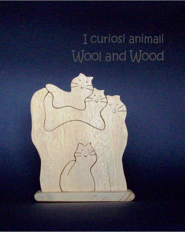 4 gatti in legno massello - 001