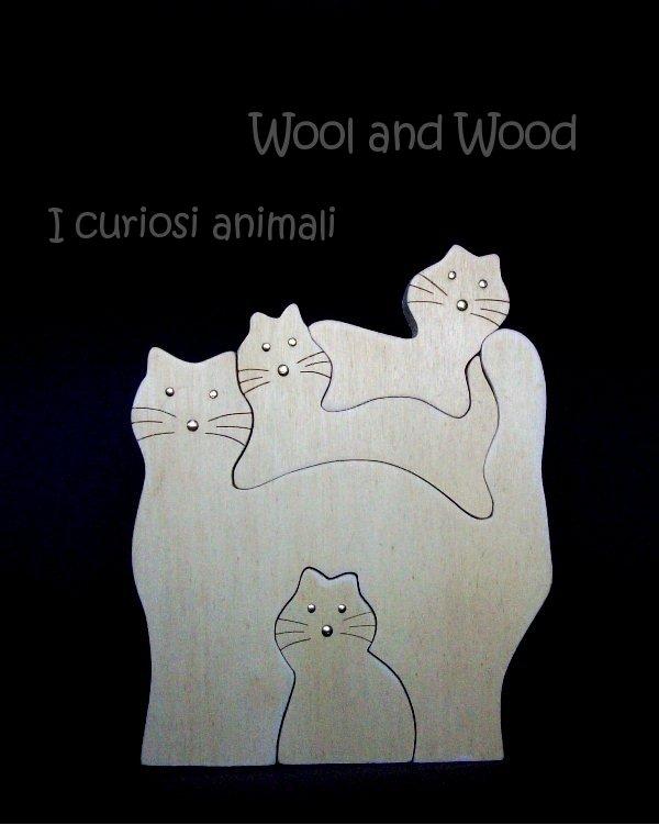 4 gatti in legno massello - 002