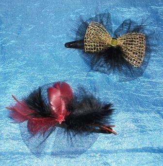 Mollette per capelli con piume 4^^
