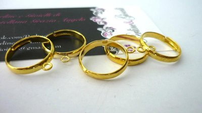 Nuovissime basi anello 1 asola in ottone, dorate, Nickel free, Lead Free, Cadmium free.