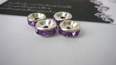 Rondelle in metallo argentato, rhinestone acrilico, fucsia.  Dimensioni: diametro 8 mm; spessore 3,8 mm.