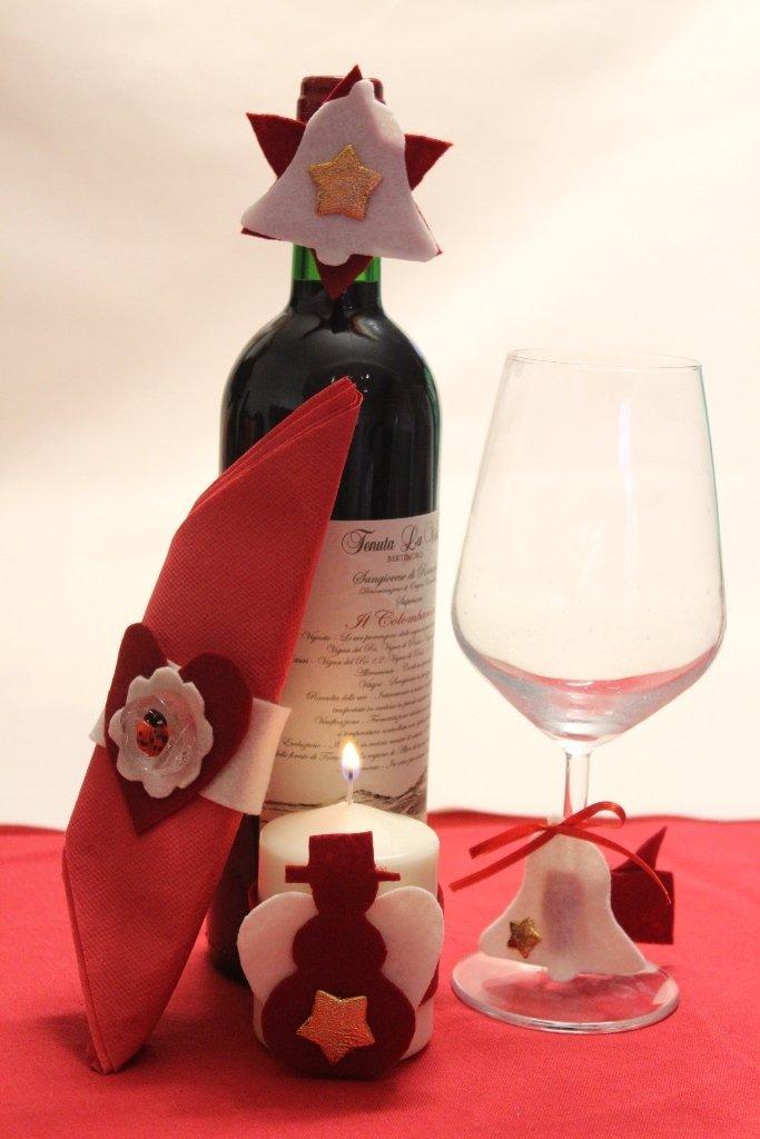 Addobbi natalizi in feltro per candele bottiglie bicchieri tovaglioli. Natale