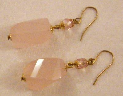 orecchini ,quarzo rosa,