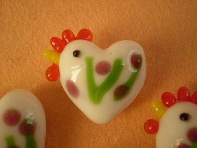 5 Perline Galline BIANCO con FIORELLINI