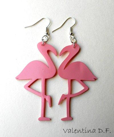 orecchini fenicotteri rosa fatti a mano