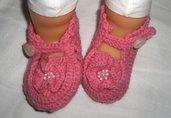 Scarpine neonato bambina uncinetto - handmade crochet baby booties