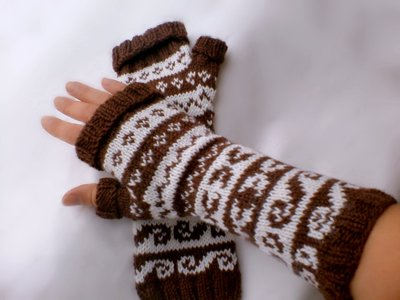 Chocolate-Brown and Milk Two Color Fingerless Mittens