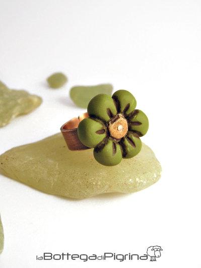 Anello Fimo Flower