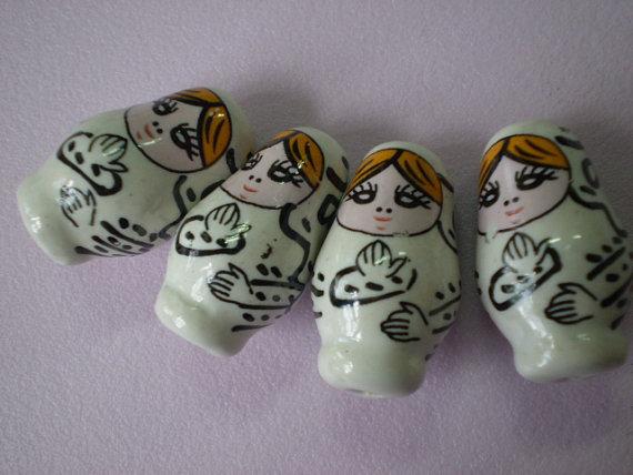 3 Perline Matriosca BIANCO