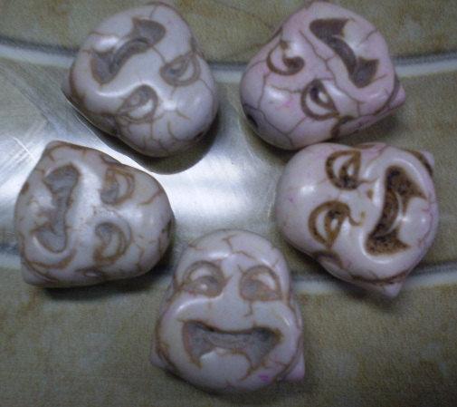 5 Perline Budda BIANCO SPORCO