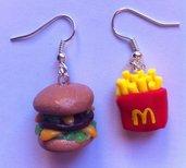 Orecchini Mc Donalds Hamburger&Patatine in Fimo / Polymer Clay Mc Donalds Earrings
