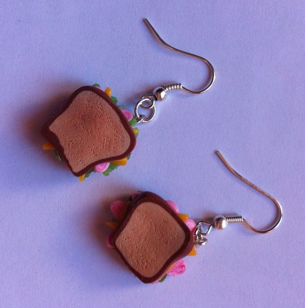 Orecchini Toast in Fimo / Polymer Clay Toast Sandwich Earrings