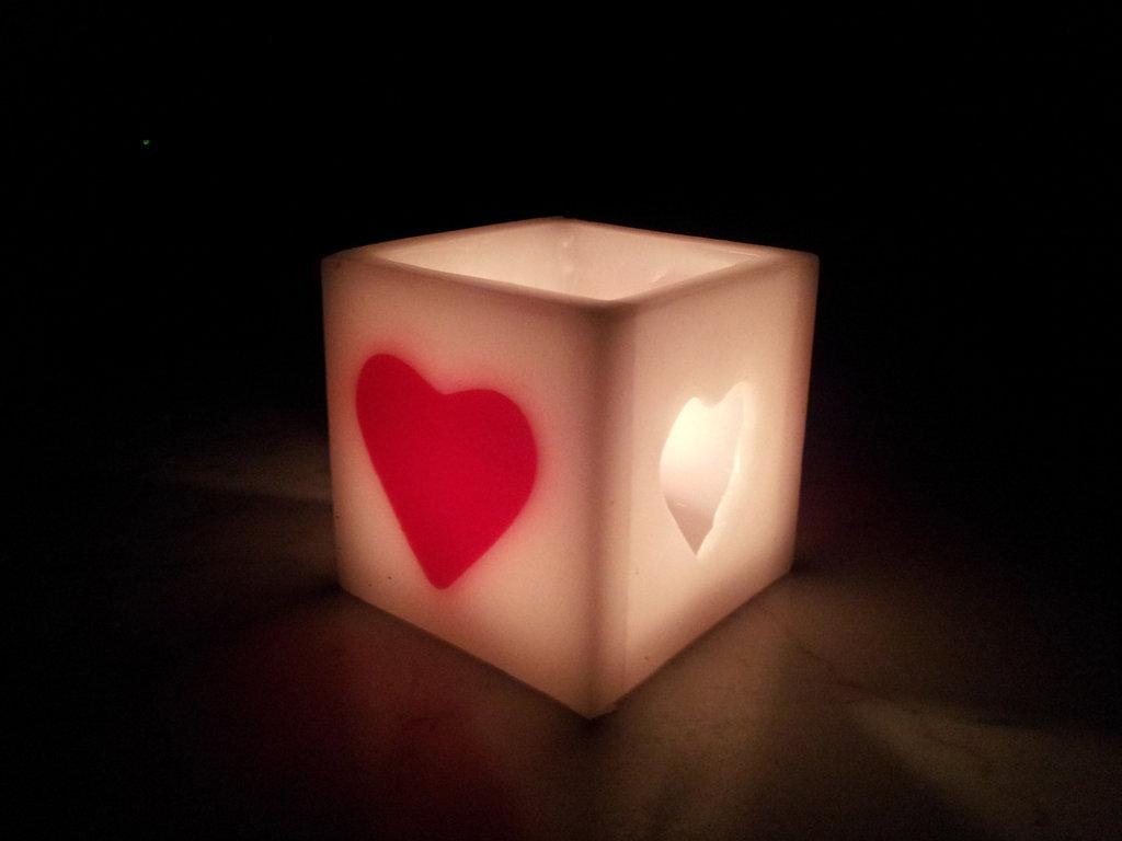 Lanterna in cera profumata con cuore
