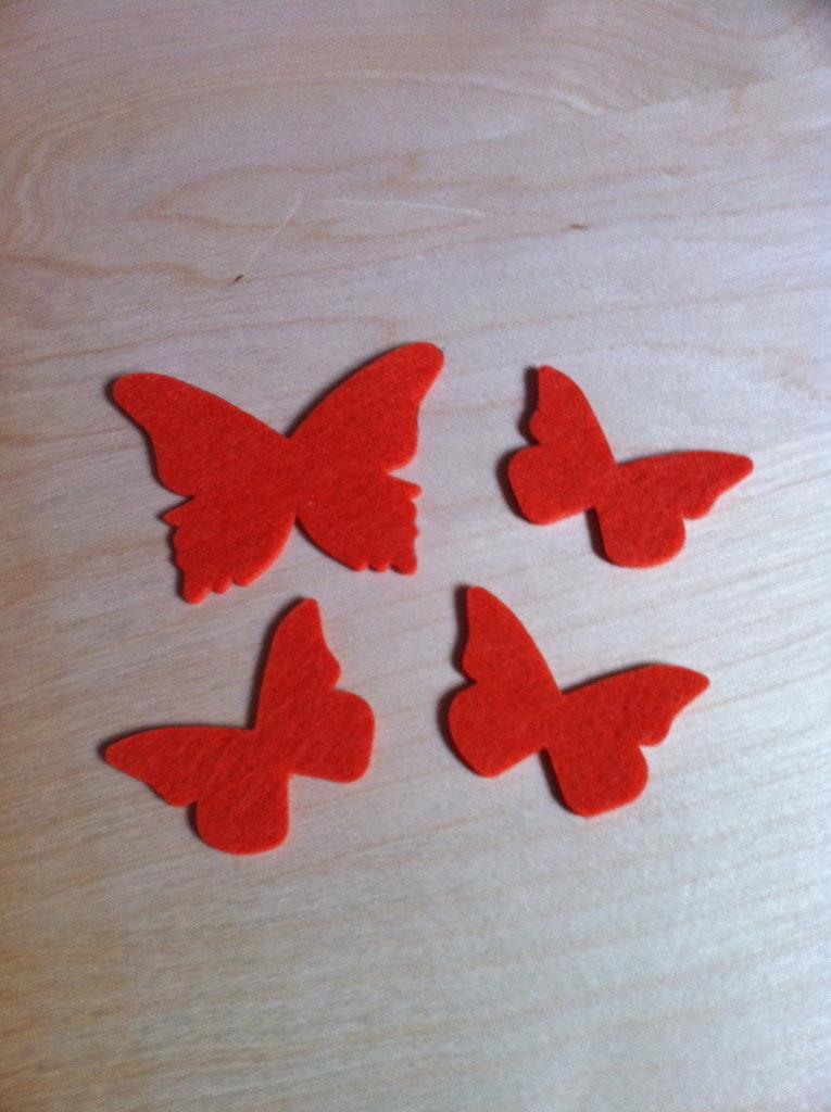 Farfalle in feltro arancione
