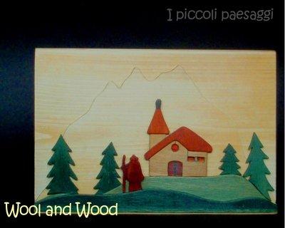 Quadretto con paesaggio in legno