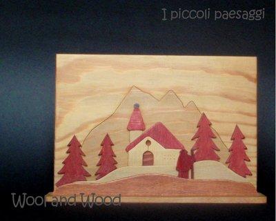 Quadretto con paesaggio in legno in rosso