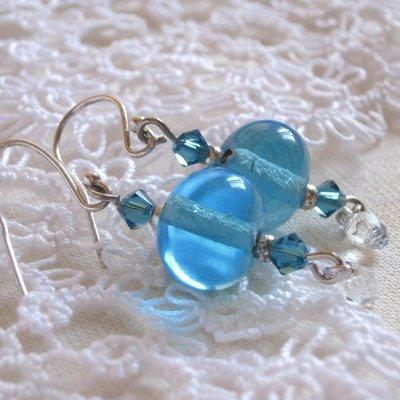 Orecchini Ice Crystal perle lampwork-cristalli swarovski
