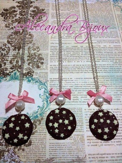 collana Pan di Stelle con perla e fiocchetto rosa