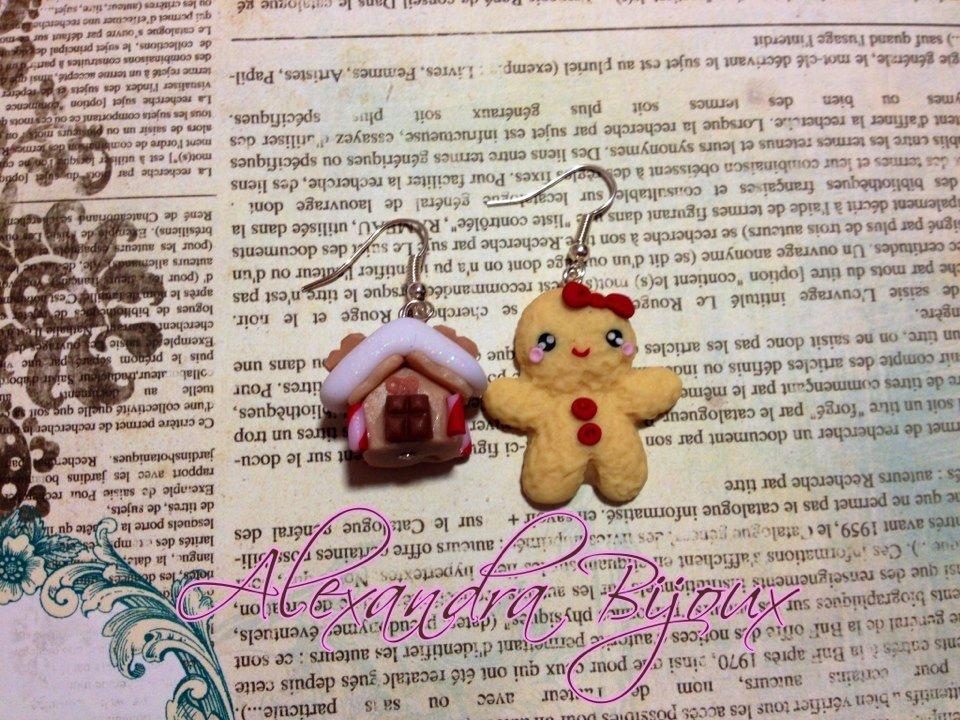 orecchini casetta di marzapane e biscottina